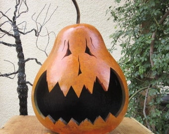 Halloween Gourd XLarge Jack O Lantern Primitive Pumpkin Decoration