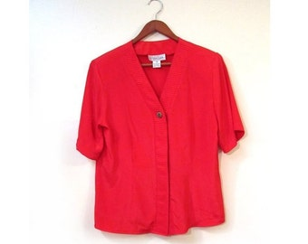 BTS SALE SALE Vintage 80s Red Short Sleeved Button Up Boxy Blouse s m