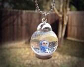 Mini Snow Globe Pendant necklace - snowman, winter
