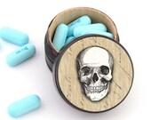 Skull Pill Box - Skull Non Toxic Vitamin Box - Skull Wedding Ring Box - Skull Powder Box