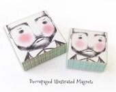 Bearded Man Magnet - Rugged Man Illustration Magnet - Hipster Dad Art Block Magnet - Boyfriend Bear gift item