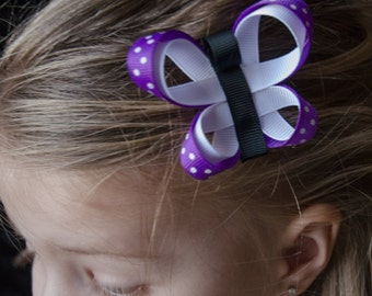 Hair Bow - Purple and White Butterfly Ribbon Sculpture