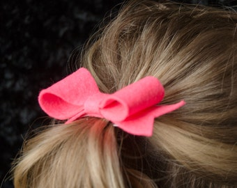 Hair Bow - Classic Hot Pink Felt Hair Bow with Tails