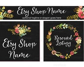 SALE 30% OFF Etsy Shop Banners - Etsy Banners - New Floral Etsy Banner - Wreath Etsy Banner -  Etsy Banner Sets - 3 Piece - Julie