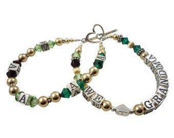 We Love Grandma/ Nana/ Mimi - any personalization , add Grandchild or children's initials & birthstones- 14K gold, sterling silver, crystal