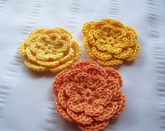 Flower crochet motif 2.5 inch cotton black yellow tangerine