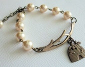Twig and Pearl Bracelet, Antiqued Brass, Honey Bee Jewelry