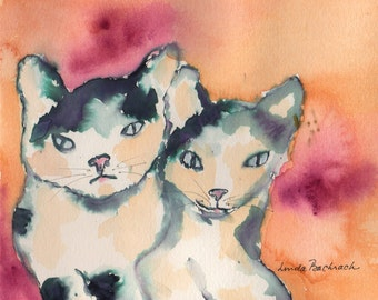 Cat Watercolor Print Two Cats