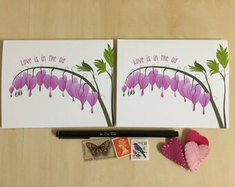 Love Is In the Air - Valentine's Day Notecards - Bleeding Hearts