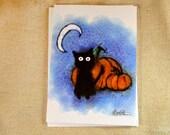 Black Cat with Pumpkins Greeting Card - Sammy Halloween Illustration