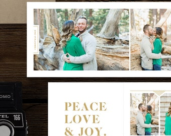 Christmas Card Templates for Photographers - 5x5 Trifold Design - Holiday Card Designs for Professional Photographers