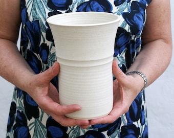 Fluted ceramic stoneware vase - glazed in vanilla cream