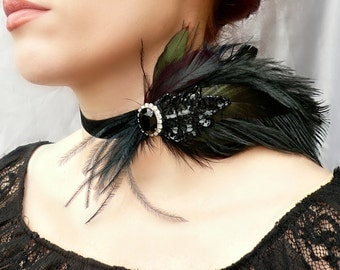 Victorian Choker - Black Velvet Choker - Renaissance Feather Choker - Game of Thrones, Gothic, Flapper, Burlesque, Prom