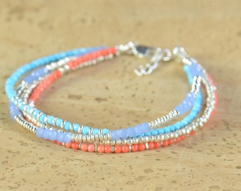 Multi strands gemstones and sterling silver beads bracelet.Bracelet set.Dainty bracelet.Wrap bracelet