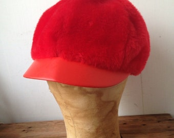 Mod Faux Fur Red Hat, 1960's