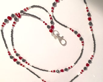 Black with Red Heart Valentine Lanyard ID.  Tag Holder