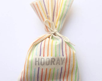 Rainbow Party Favour Bags - Multi colour Stripe, circus, carnival, art party