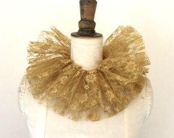 Gold lace neck ruff - Circus costume - Burlesque - Masquerade costume.