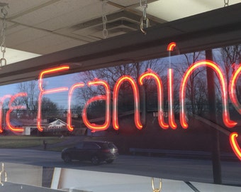 Vintage Red Neon Sign Picture Framing 12x48 Shipping is Not free