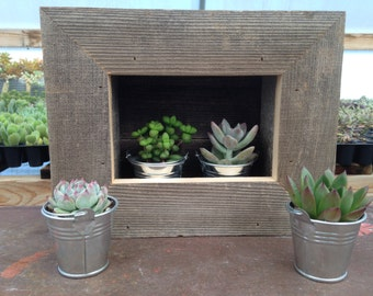 RUSTIC Wall Planter, 2 Succulents And Silver Pails Included, Wall Pocket, Planter Box, Plant Shelf, Reclaimed Wood