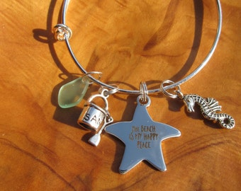 The Beach is my Happy Place-- Adjustable Bangle Bracelet - Perfect for Summer, Beach, Beach Wedding with Seahorse, Sea glass and sand pail