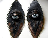 Evil eye black antiqued leather feather earrings.  Feather earrings. Halloween earrings. Horror earrings.  Handmade leather earring