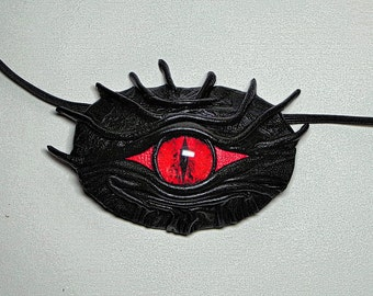 Black Leather Eye Patch Cosplay Larp Steampunk Pirate Captain Medical Stage Gothic style Halloween costume.
