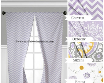 Lavender Curtain Panels Gray Yellow Nursery Curtains Floral Damask Window Treatments Wisteria Drapery Baby Chevron Bedroom Curtains Decor