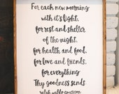 For Each New Morning CUSTOMIZABLE Handmade Wood Sign