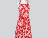 Chef Apron - Adjustable Neck Christmas Holiday Red and Ivory Floral Damask Cute Womens Long Chef Apron also in Plus Size