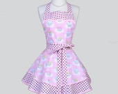 Ruffled Retro Apron - Woman Apron Pink Birthday Party Cupcakes Cute Full Kitchen Ruffled Apron Personalize or Monogram