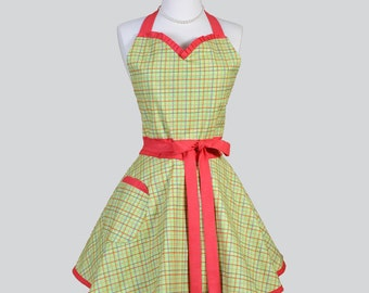 Sweetheart Retro Womans Apron . Cute Flirty Vintage Kitchen Cooking Apron in Lime Green and Red Plaid Handmade Full Womens Aprons