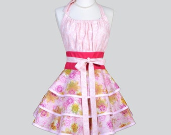 Flirty Chic Womens Aprons - Full Retro Womans Apron in Vintage Pink Champagne Floral Cute Kitchen Cooking Hostess Apron