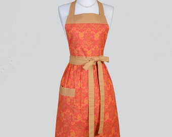 Full Bib Womens Apron / Retro Womans Kitchen Cooking Apron in Vintage Coral and Caramel Damask Cute Chef Apron Personalize or Monogram