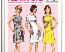Vintage 1966 Simplicity 6392 UNCUT Sewing Pattern Teen's Girl's One-Piece Dress Size 10T Bust 30