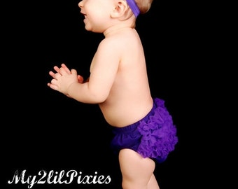 SALE Ready TO SHIP- Chiffon Ruffle Bum Baby Bloomer, Diaper Cover, Baby Girl Bloomer, Ruffled bloomer- 25 Colors to Choose From- My2Lilpixie