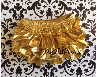 GOLD BABY BLOOMER,bloomers,gold ruffle bum bloomer,gold ruffle Diaper cover,cake smash,newborn bloomers, first birthday- Ready To Ship- Sale