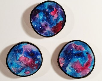 Galaxy Trio 001 - Watercolour Paintings on a Woodslices - Set of Three