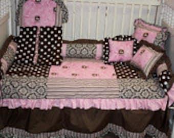 John deere brown damask Crib bedding-Free personalized pillow