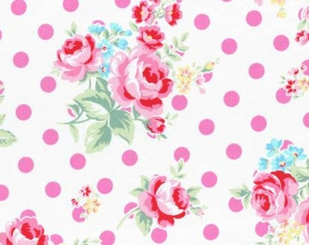 Flower Sugar 2015 Fall Collection Cotton Fabric Lecien 31268-20 Roses and Dots Pink