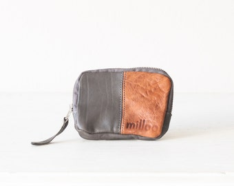 Leather coin purse in grey and brown, small zipper wallet zipper phone case money bag - The Myrto Zipper pouch