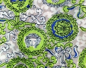 Vintage Fabric 1940s American Beauty Co Rayon Novelty Fabric Chartreuse Greek Roman 3.5 yds