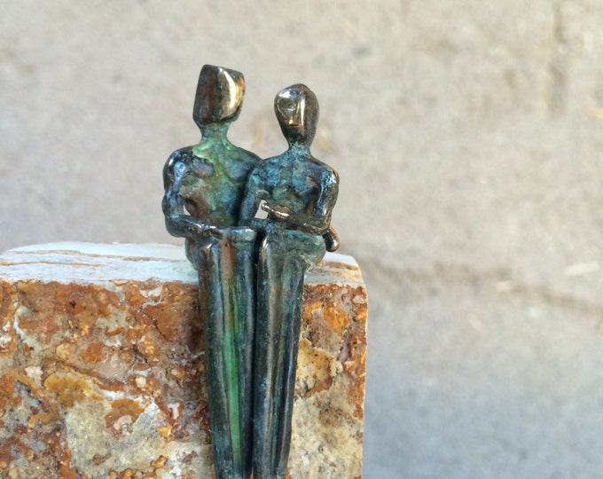 Man & Woman: Romantic Miniature Bronze Sculpture
