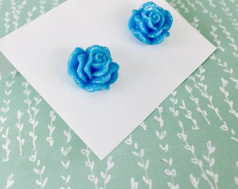 Light Blue Rose Earrings - Sparkling Blooms - beach jewelry - SALE - perfect gift - Summer - bridesmaids - weddings - sale