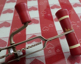 ECKO High Speed Center Drive Egg Beater Red Wooden Handle, Kitchen Decor, Housewares, Farmhouse