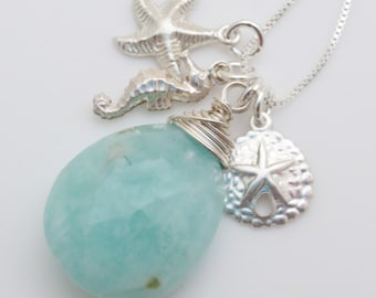 Amazonite Gemstone Beach Charm Sterling Silver Pendant Necklace EE Designs