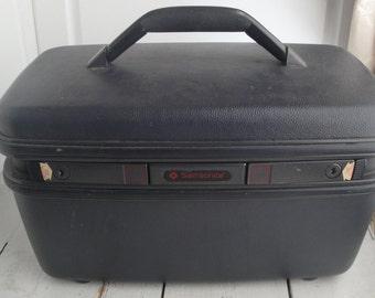 Vintage Black Gray Train Make Up Case Luggage Hard Suitcase Samsonite