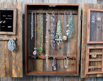 Jewelry Organizer - Armoire - Cabinet - Wall Mounted - Mod - Rustic Home Decor - Handmade - Organizing - Bedroom Furniture - 24 x 18 x 4.5