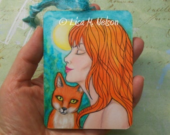 Fun Moon Redheads Woman and Fox original fine art mixed media illustration ornament