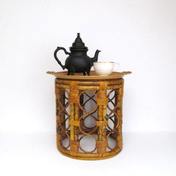 Rattan Pedestal Small Table Plant Stand Vintage Boho